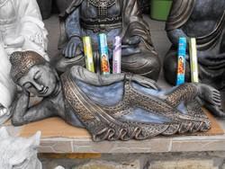 Thai földi fekvő Kő Buddha  75cm Feng shui Japán kerti Fagyálló műkő szobor