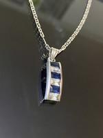 Meseszép ezüst nyaklánc és Medál Szintetikus Zafír kövekkel