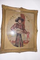 Régi tű gobelin kép, Szerenádot adó fiú    ovális paszatújában, blondel keretben