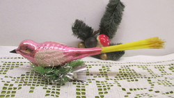 Régi üveg karácsonyfadísz madár-csipeszes