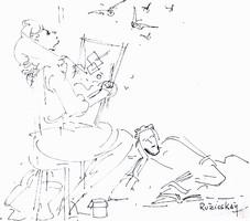 Ruzicskay György (1896-1993): Festés a szabadban - egyedi tusrajz, aukción szerepelt