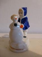 Extrém ritka orosz,szovjet Gorodnitsa porcelán,hóemberes kislány