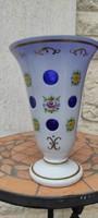 Gyönyörű antik Cseh festett vàza,urna, kehely színes többrétegű festett, gyönyörű színű !
