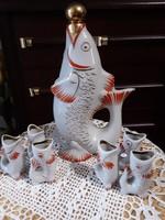 Orosz Art Deco aranyozott porcelán italos készlet, jelzett,eredeti 7darabos, hibátlan,vitrin minőség