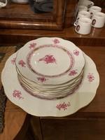 Herendi Apponyi mintás 6 sütis tányér és kínáló tál (7db)