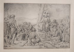 Pándy Lajos (1895-1957): Bibliai jelenet - nagy méretű egyedi grafika, keretezve