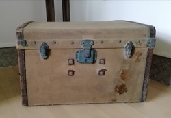 Textil utazóláda, régi utazó bőrönd, koffer loft, dekoráció