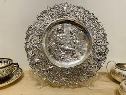Ezüst áttört szecessziós tányér antik Német fémjellel