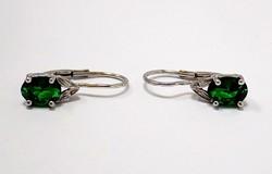 Zöld spinell köves fehér arany fülbevaló (ZAL-Au95626)