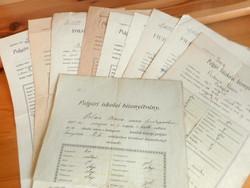 10 db. régi polgári iskolai bizonyítvány Budapest és környéke (1904-1935 között)