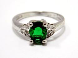 Zöld spinell köves fehér arany gyűrű (ZAL-Au95623)