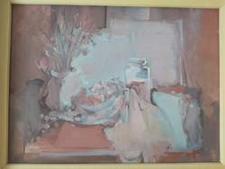 MARKÓ ERZSÉBET: Csendélet (olaj-farost, 80x60 cm) asztali, kortárs stílus, modern magyar