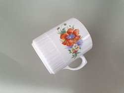 Régi vintage Zsolnay porcelán pipacsos búzavirágos bögre népi teás mezeivirágos csésze