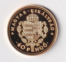 Aranyozott ezüst /0999/ Rákóczi 40 Pengő  Tükörveret Certivel
