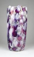 1B128 Régi art deco lila irizáló kerámia váza 22 cm