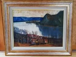 """Papp Zoltán """" Dunakanyar""""  festmény, olaj - farost  szignózott"""