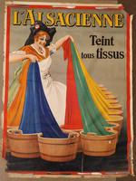 Antik nagy méretű francia nyelvű textil színező festő reklám plakát