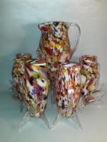 Vintage Mid century FULVIO BIANCONI ? Muránói - Murano - üveg kiöntő + 6 pohár teljes boros készlet