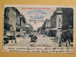 Antik levelezőlap - fotó képeslap, Marseille, La Cannebiere, 1904