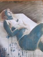 PÁDÁR NÓRA: Fekvő nő (olajfestmény 80x100 cm) modern, kortárs magyar - misztikus nőportré