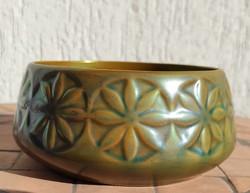 Zsolnay eozin kaspó, virágtartó,Art Deco Szecesszió minta szép.különleges kékes-zöld eozin színben.