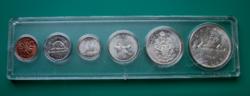 Kanada 1962. évi forgalmi sor – 6 db-os, 4 db ezüsttel – átlátszó, kemény-műanyag  tokban