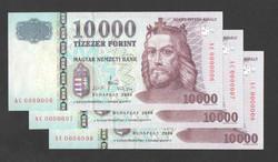"""10000 forint 2008. """"AC"""". 3 db sorszám követő! Extra alacsony sorszám, 6, 7, 8 ! UNC!"""