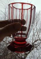 Gyönyörű antik bíeder pohár,hàntolt ,Rubin pàcolt,színes csiszolt bíbor àtlàtszó színű