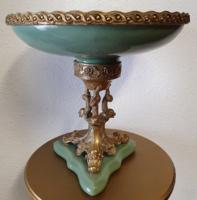 Bronz szobros empire stílusú porcelán kínáló asztalközép