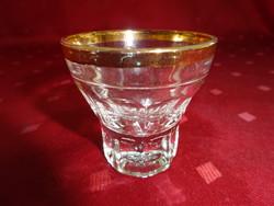 2 centiliteres likőrös pohár, arany szegélyes. Átmérője 5,5 cm.