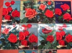 10 db térhatású régi francia képeslap, hologramos, 1962-1974, rózsás, tulipános
