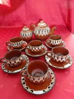 Bolgár mázas kerámia hat személyes kávéskészlet, 14 darabos.