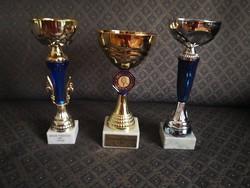 3 db dekorációs serleg  / sport serleg / trófea - Kékek