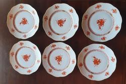 6 db Herendi Apponyi orange desszertes kistányérok utasellátó felirattal 20,5 cm-es