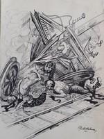SZÜRREÁLIS KÁOSZ - tusrajz 1951-ből (modern, XX. század dereka) mágia, varázslat, képzeletbeli