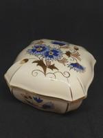 ZSOLNAY búzavirágos bonbonier porcelán, hibátlan, jelzett