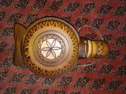 Magyar népművészeti fa burkolatú kulacs égetett mintával hungarian art wine container