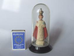 Régebbi, vintage olasz vallási emléktárgy, kegytárgy-műanyag búra alatt egyházi szobor