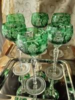 Smaragdzöld ólomkristály boros, 6db os készlet, kézi csiszolású, eredeti, jelzett, vitrinben tartott
