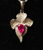 Valódi rubin medál és nyaklánc ezüst