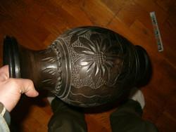Korond i váza nagyméretű fekete virág motívum kaspó korsó