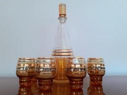 Retro régi cseh jelzett Bohemia üveg italos készlet csíkos likőrös dugós üveg pohár 7 db
