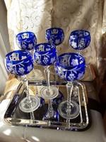 Királykék ólomkristály boros,6db os készlet, kézi csiszolás, eredeti, jelzett, vitrinben tartott