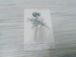 Antik hosszú címzésü Üdvözlő képeslap. (1904).