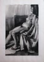 Nagy méretű női akt! Czeizek György (1953-1980) ritkán elkerülő munkái közül!