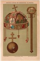 Magyar korona és koronázási jelvények, színes nyomat 1896, jogar, országalma, magyar, király