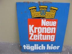 Zománctábla osztrákcca1960- 1970 retro Neue Kronen Zeitung) 90X75 cm reklámtábla