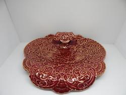Zsolnay Marokkói mintás,bordó-arany,asztalközép