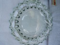 Üveg - tál -  nagyon vastag - nagyméretű   32 cm szélén szalagfűző lyukakkal ami 4 cm