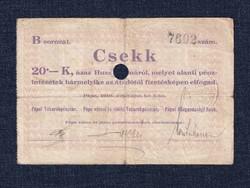 Magyarország Csekk 20 Koronáról 1919 Pápa szükségpénz B sorozat 1919 (id16637)
